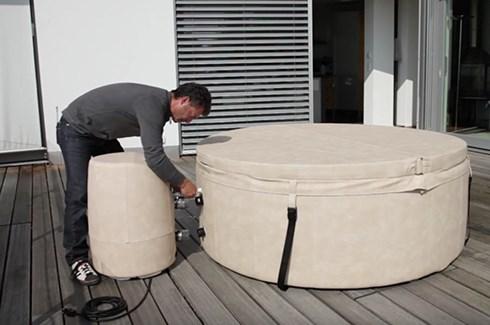assembling hot tub