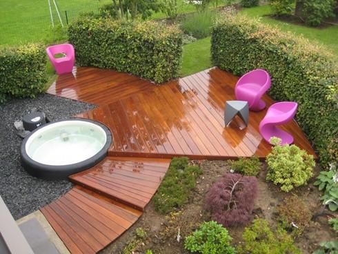 hot tub garden landscape